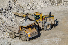 Loading of gypsum in mining truck Stock Photo