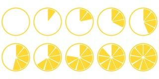 Loading icons lemon parts set ten pieces vector illustration