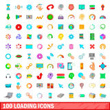 100 loading icons set, cartoon style. 100 loading icons set in cartoon style for any design vector illustration Stock Image