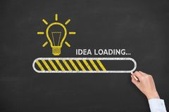 Loading idea concepts with light bulbs on a chalkboard background stock photography