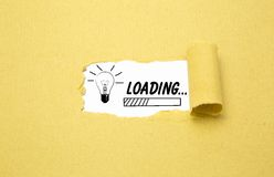 Loading an idea. Design of progress bar, loading an idea with torn brown paper Royalty Free Stock Images