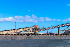 Loading iron ore conveyor machine in steel industry Stock Photo