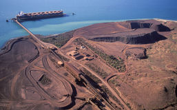 Loading iron Ore. On a ship at Dampier, Western Australia Stock Images