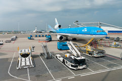 Loading a KLM plane Royalty Free Stock Photo