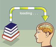 Loading Knowledge from books into the mind Vector. Eps file Royalty Free Stock Photos