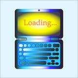 Loading on laptop. Web button. Royalty Free Stock Photo
