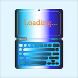 Loading on laptop. Web button. Stock Image