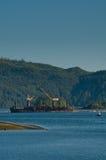 Loading Log Barge Stock Photos