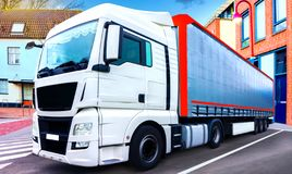 Loading Lorry Trailer . Truck on the road stock photography