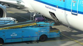 Loading luggage on the plane. Schiphol Airport, Amsterdam. AMSTERDAM, NETHERLANDS - SEPTEMBER 17, 2017: The suitcase goes on the conveyor belt. Loading luggage stock video footage