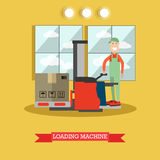 Loading machine concept vector illustration in flat style Royalty Free Stock Photo