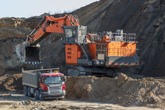 Loading mining trucks Royalty Free Stock Photography