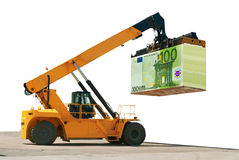 Loading of money. Build business. Success. Forklift is loading, delivering, shifting, transferring the Euros notes. White background. Concept of the money to Stock Images