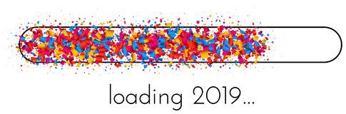 Loading 2019 New Year banner with colorful progress indicator. Loading 2019 New Year creative banner with progress indicator made of bright confetti. Vector royalty free illustration