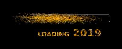 Loading new year 2019 banner. Golden glitter loading new year 2019 banner black background silvester illustration stock illustration