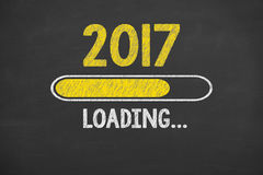 Loading New Year 2017 on Chalkboard Background Stock Photography