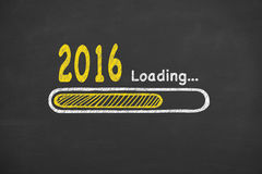 Loading New Year 2016 on Chalkboard. Working Conceptual Concept Stock Photos