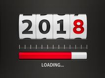 Loading New year 2018 counter. Design component of a counter dial that is showing loading new year 2018, three-dimensional rendering, 3D illustration Stock Photos
