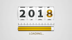 Loading New year 2018 counter  2. Design component of a counter dial that is showing loading new year 2018, three-dimensional rendering, 3D illustration Royalty Free Stock Photography