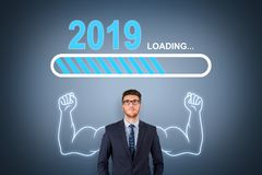 Loading New Year 2019 over Human Head. New year concepts vector illustration