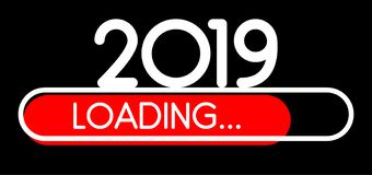 Loading 2019 New Year red creative festive banner. royalty free illustration