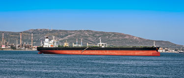 Loading oil supertanker Royalty Free Stock Photo