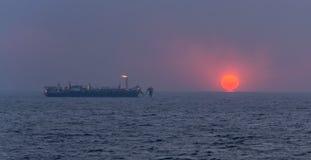 Loading oil tankers on liquid bulk terminal Stock Image