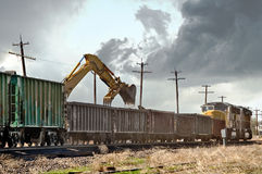 Loading old railroad ties Stock Photography