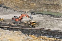 Loading Overburden on open pit coal mining Stock Photos