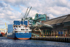 Loading phosphors. Unloading of phosphorus  in the Port of Gdansk  on the waterfront of Chemistry Stock Photos