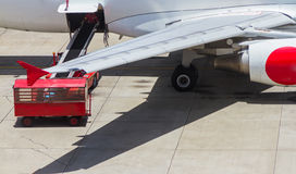 Loading platform of air freight to the aircraft. Royalty Free Stock Photos