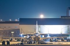 Loading platform of air freight to the aircraft.  Royalty Free Stock Photography