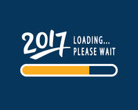 2017 is loading. Please Wait. Amusing New Year poster. Funny inspirational typography design, good for party invitation card, banner, blog, flyer, T shirt Royalty Free Stock Image