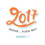 2017 is loading. Please Wait. Amusing New Year poster. Funny inspirational typography design, good for party invitation card, banner, blog, T shirt print Stock Images