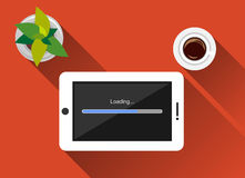 Loading process concept illustration.. Flat design with long shadow. Loading process status. Loading process on gadget. Waiting loading process.n Stock Photos