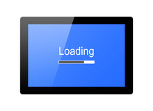 Loading progress bar. Tablet with loading progress bar isolated on white background vector illustration