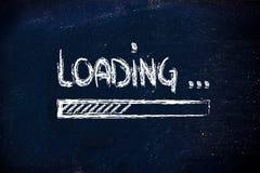 Loading, progress bar on blackboard. Design of progress bar on blackboard, loading Stock Image