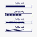 Loading progress status bar icon set. Web design app download timer. White background. Flat trendy scribble element. . Vector illustration Stock Image