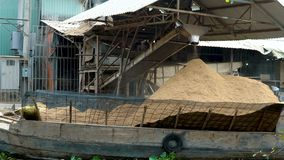 Loading of rice on a boat. At Mekong Delta, Vietnam stock video
