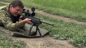 Loading Rifles and Shot  stock video footage