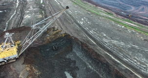 Loading of rock in the quarry. Loading of iron ore in career stock footage