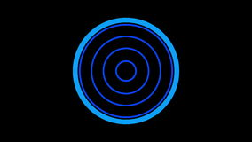 Loading screen circular, blue on black background - 30fps loop - video texture, seamless animated element stock footage