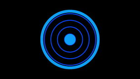 Loading screen circular, blue on black background - 30fps loop - video texture, seamless animated element stock video