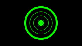 Loading screen circular, green on black background - 30fps loop - video texture, seamless animated element stock footage