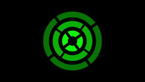 Loading screen circular, green on black background - 30fps loop - video texture, seamless animated element stock video