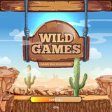 Loading screen with title for a Wild West game. Loading screen with title for  Wild West game. Desert and mountains, cactus and stone, signpost vector Stock Photos