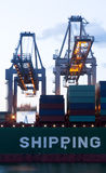 Loading of a sea-going cargo stock image