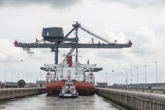 Loading ship in the locks of the North Sea Canal stock photo