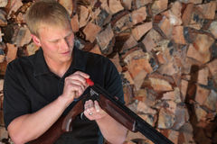 Loading a Shotgun Stock Photo