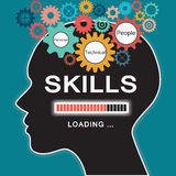 Loading skills concept. With human head and gear Royalty Free Stock Photo